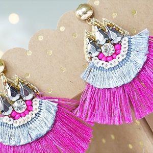 Jewelry - NEW! Stud Post Beaded Tassel Statement Earrings
